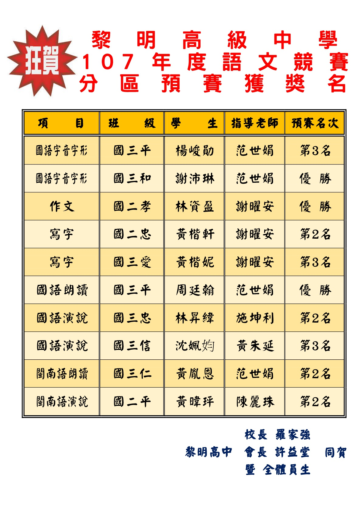 107國中國語文競賽-分區預賽